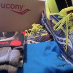 Saucony Ride 5, Balega socks, Brooks shirt, Amphipod bottle